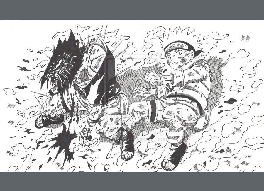 Manga Sasuke saves Naruto