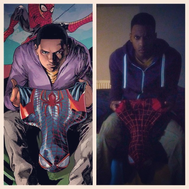 Miles Morales cosplay pose
