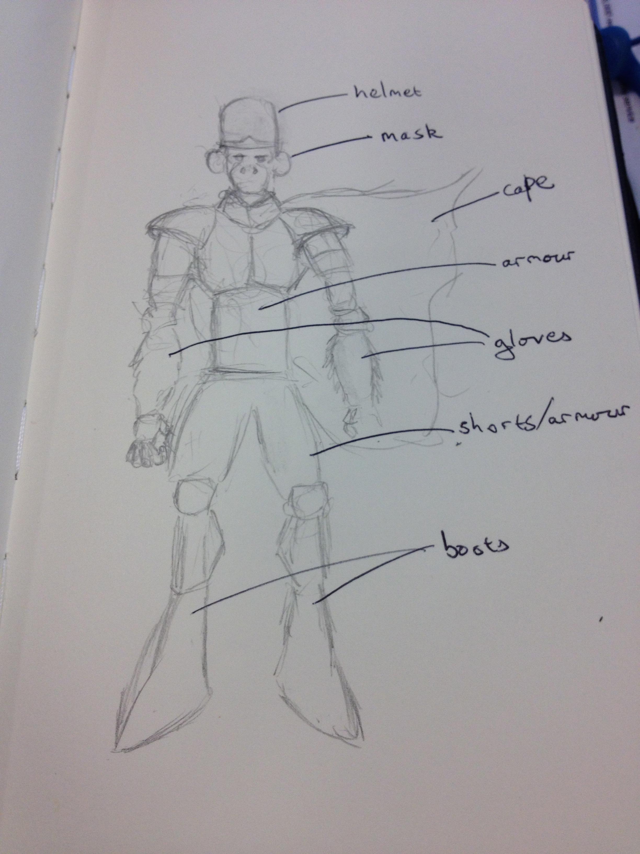 initial mojo jojo cosplay sketch